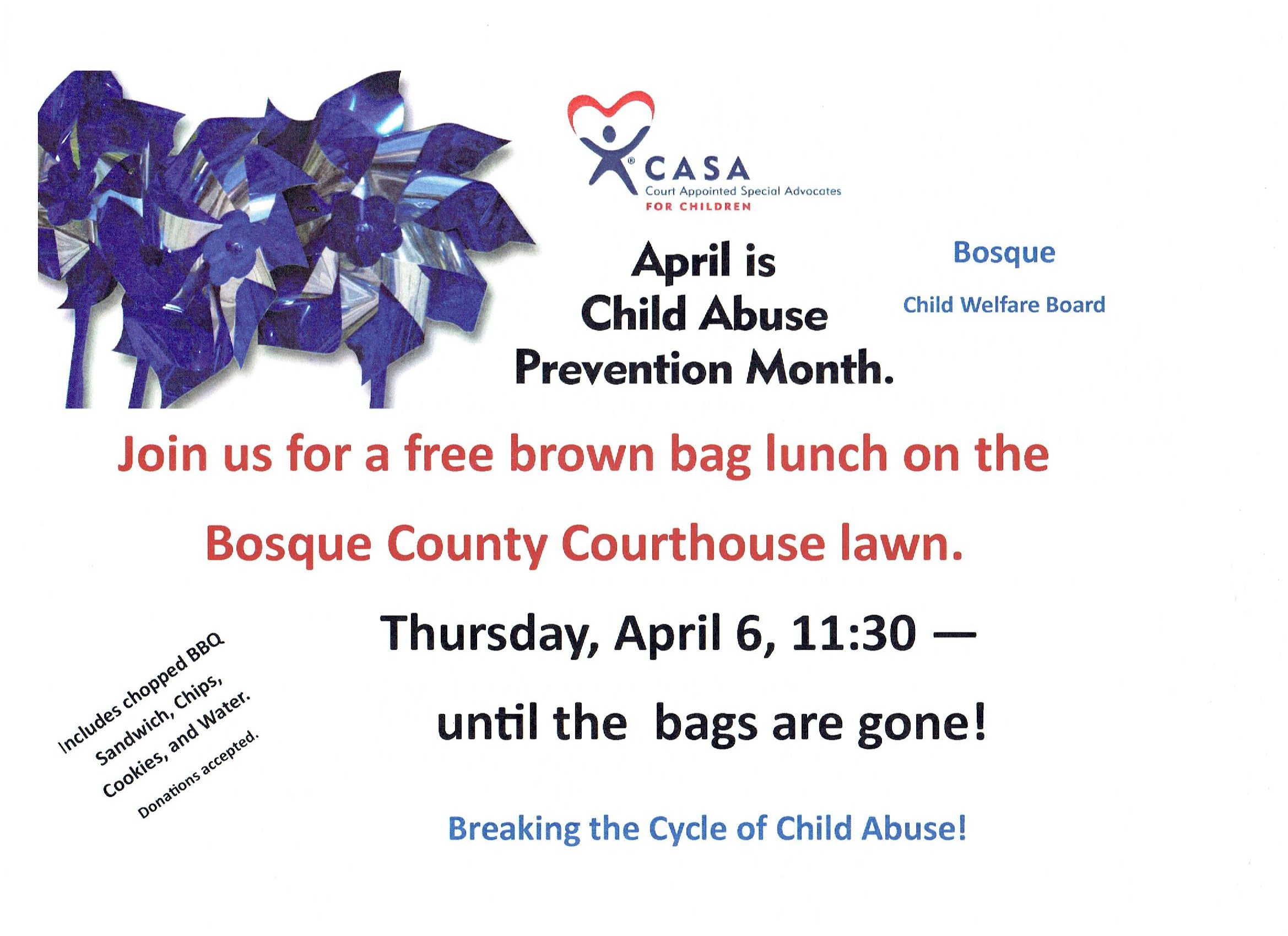 CASA Brown Bag Lunch @ Bosque County Courthouse Lawn