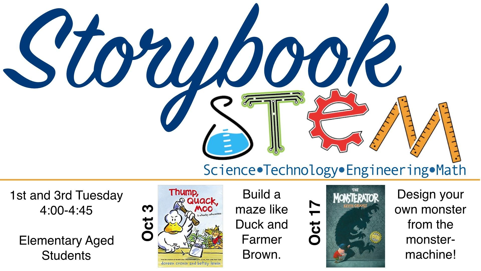 Storybook STEM (Science, Technology, Engineering,Math) Elem. Age @ Meridian Public Library | Meridian | Texas | United States