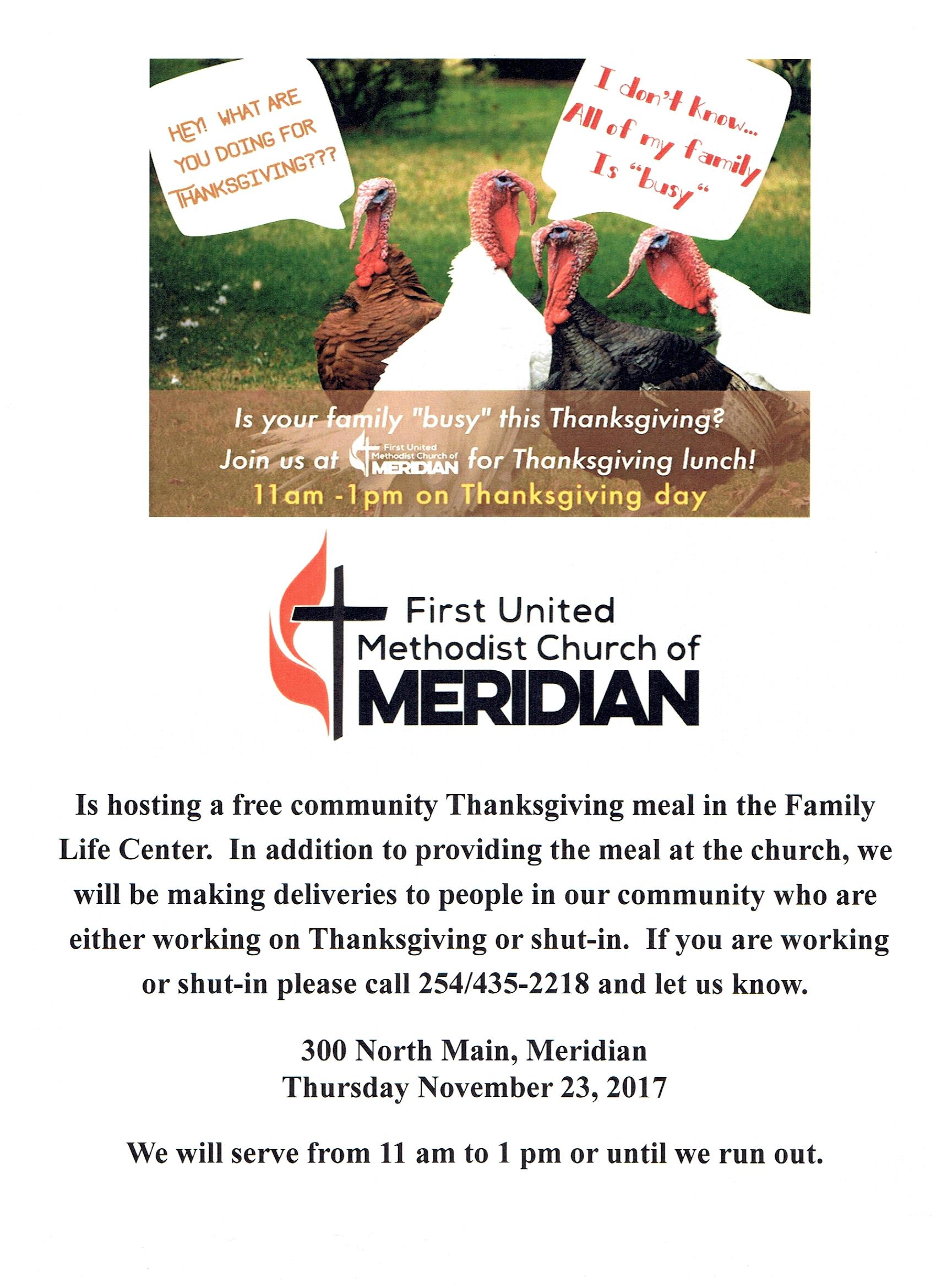 Community thanksgiving Meal @ First United Methodist Church | Meridian | Texas | United States